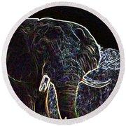 Electric Elephant Round Beach Towel