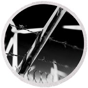 Electric Fence Black And White Round Beach Towel