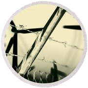 Electric Fence Silhouette Round Beach Towel
