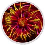 Electric Firewheel Flower Artwork Round Beach Towel