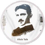 electric generator patent art Nikola Tesla Round Beach Towel