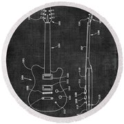 Electric Guitar Patent 039 Round Beach Towel