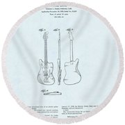 Electric Guitar Patent Drawing On Blue Background Round Beach Towel