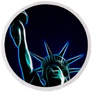 Electric Liberty Round Beach Towel