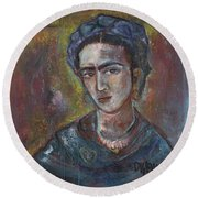 Electric Light Frida Round Beach Towel