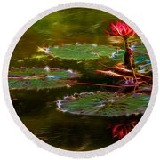 Electric Lily Pad Round Beach Towel