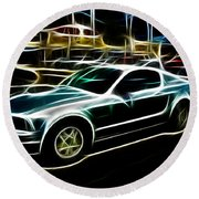 Electric Mustang Round Beach Towel