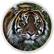 Electric Tiger Round Beach Towel
