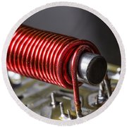 Electrical Coil With Iron Core Round Beach Towel