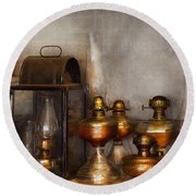 Electrician - A Collection Of Oil Lanterns  Round Beach Towel by Mike Savad