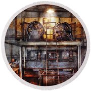 Electrician - Turbine Station Round Beach Towel by Mike Savad