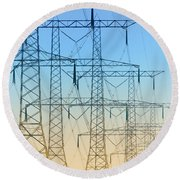 Electricity Pylons Standing In A Row Round Beach Towel