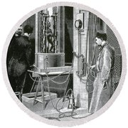 Electroplating The Dead, 1891 Round Beach Towel