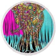 Elefantos - Cr01ac02 Round Beach Towel