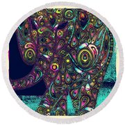 Elefantos - Ptjs01a Round Beach Towel by Variance Collections