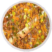 Elegant Autumn Branches Round Beach Towel