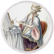 Elegant Lady At Her Dressing Table Round Beach Towel by Pierre Thomas Le Clerc