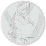 Elegant Woman In Dress Drawing Round Beach Towel