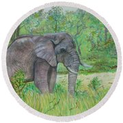 Elephant At Kruger Round Beach Towel