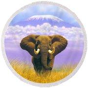 Elephant At Table Mountain Round Beach Towel