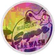 Elephant Car Wash Cubed Round Beach Towel