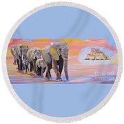 Elephant Fantasy Must Open Round Beach Towel