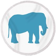 Elephant In White And Turquoise Round Beach Towel