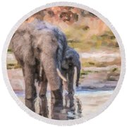 Elephant Mother And Calf Round Beach Towel
