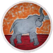 Elephant N Time Out Round Beach Towel