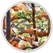 Elephant Rocks Revisited IIb Round Beach Towel