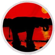 Elephant Silhouette African Sunset Round Beach Towel