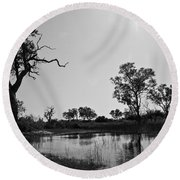 Elephant Skull On Riverbank, Okavango Round Beach Towel