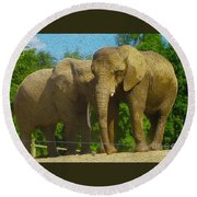 Elephant Snuggle Round Beach Towel