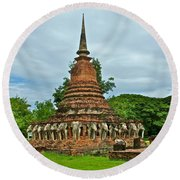Elephant Stupa At Wat Sarasak In Sukhothai Historical Park-thailand Round Beach Towel