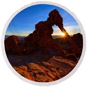 Elephant Sunrise Round Beach Towel by Chad Dutson