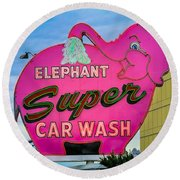 Elephant Super Car Wash Round Beach Towel