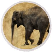 Elephant Walk II Round Beach Towel