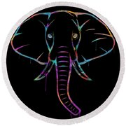 Elephant Watercolors - Black Round Beach Towel