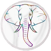 Elephant Watercolors - White Background Round Beach Towel