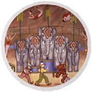 Elephants And Acrobats Round Beach Towel