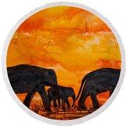 Elephants At Sunset Round Beach Towel