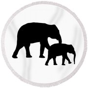 Elephants In Black And White Round Beach Towel