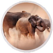 Elephants In Dust Round Beach Towel