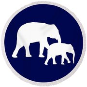 Elephants In Navy And White Round Beach Towel