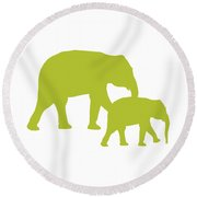 Elephants In White And Chartreuse Round Beach Towel