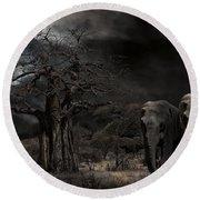 Elephants Of The Serengeti Round Beach Towel
