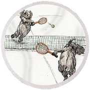 Elephants Playing Tennis Round Beach Towel