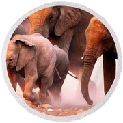 Elephants Stampede Round Beach Towel