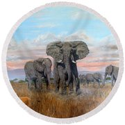 Elephants Warning To The Lions Round Beach Towel