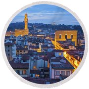 Elevated Night View Of Central Florence Round Beach Towel